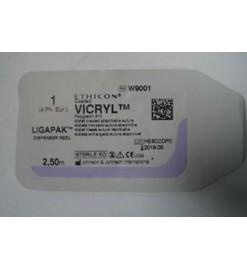Викрил 1, без иглы, фиолетовый, 2.5м  W9001,Ethicon, США