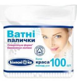 Ватные палочки полиэтилен 100 шт, Белоснежка, Украина